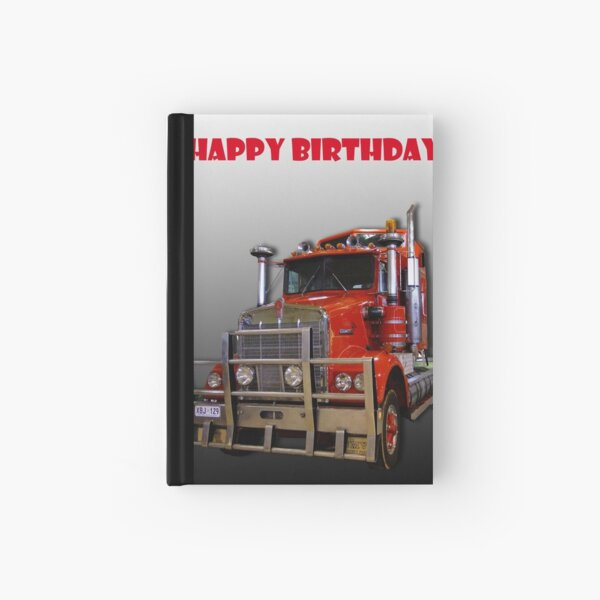 Red Kenworth Truck Happy Birthday Hardcover Journal