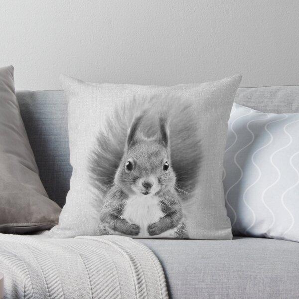Squirrel 2 - Black & White Throw Pillow