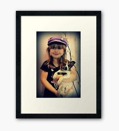 Portrait ~ Girl And Dog ~ Gerahmter Kunstdruck
