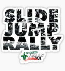 Slide Jump Rally - Black & White/White Sticker