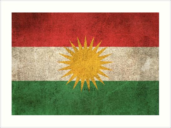 Old and Worn Distressed Vintage Flag of Kurdistan by jeff bartels