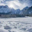 Sunny winter day at snowy frozen lake Fusine by Patrik Lovrin