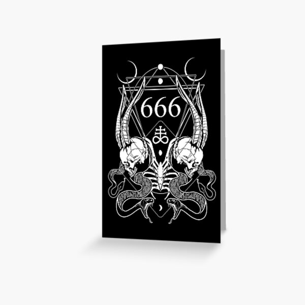 666 with some skulls, serpents and Leviathan cross Greeting Card
