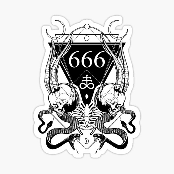 666 with some skulls, serpents and Leviathan cross Sticker