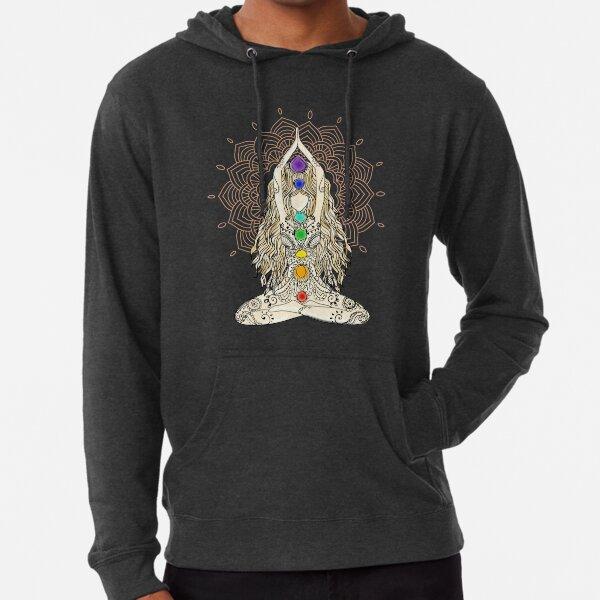 yoga frau buddha mandala indien muster chakra energie lotussitz energiezentren spiritual om namaste tattoo henna zentrum  Leichter Hoodie