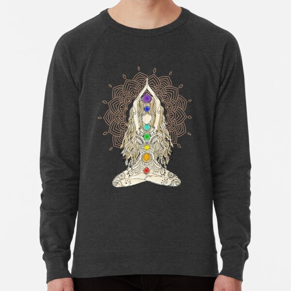 yoga woman buddha mandala india pattern chakra energy lotus power centers spiritual om namaste tattoo henna center Lightweight Sweatshirt