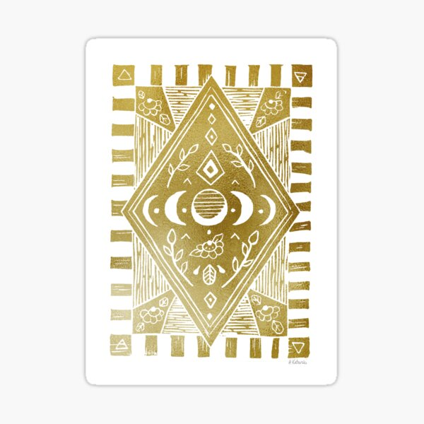 Moon Phases - metallic gold Sticker