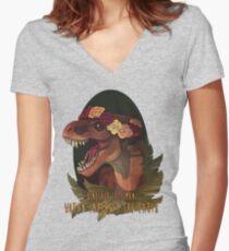 Dinosaur Eats Man Women's Fitted V-Neck T-Shirt