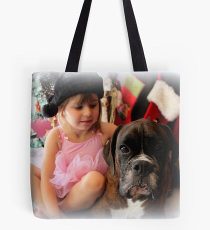 Girl And Dog Portrait - Boxer Dogs Series Tote Bag