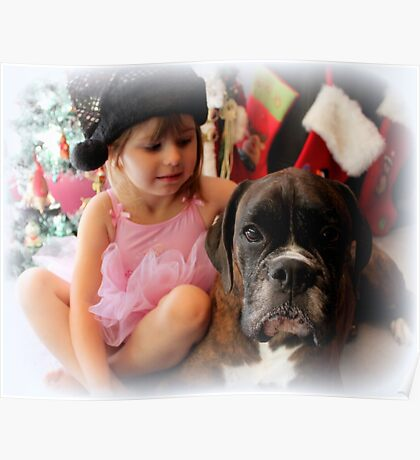 Girl And Dog Portrait - Boxer Dogs Series Poster