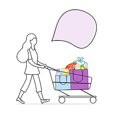 Woman carries shopping cart with purchased goods. by aquamarine-p
