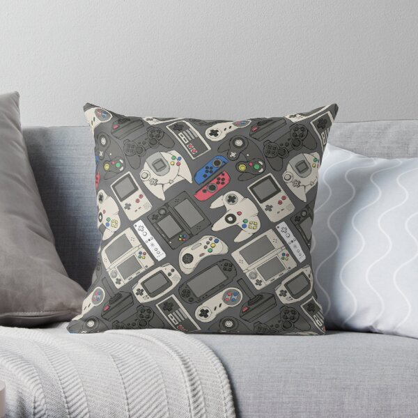 Video Game Controllers in True Colors Throw Pillow