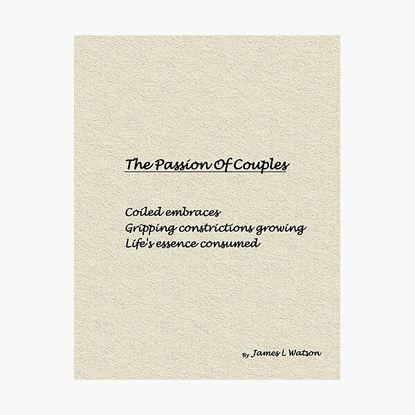 The Passion Of Couples Photographic Print