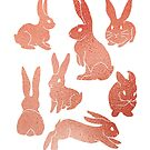 Spring Rosy Gold Easter Bunny Rabbits by tinaschofield