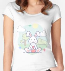 Süßer Osterhase im Frühling Tailliertes Rundhals-Shirt