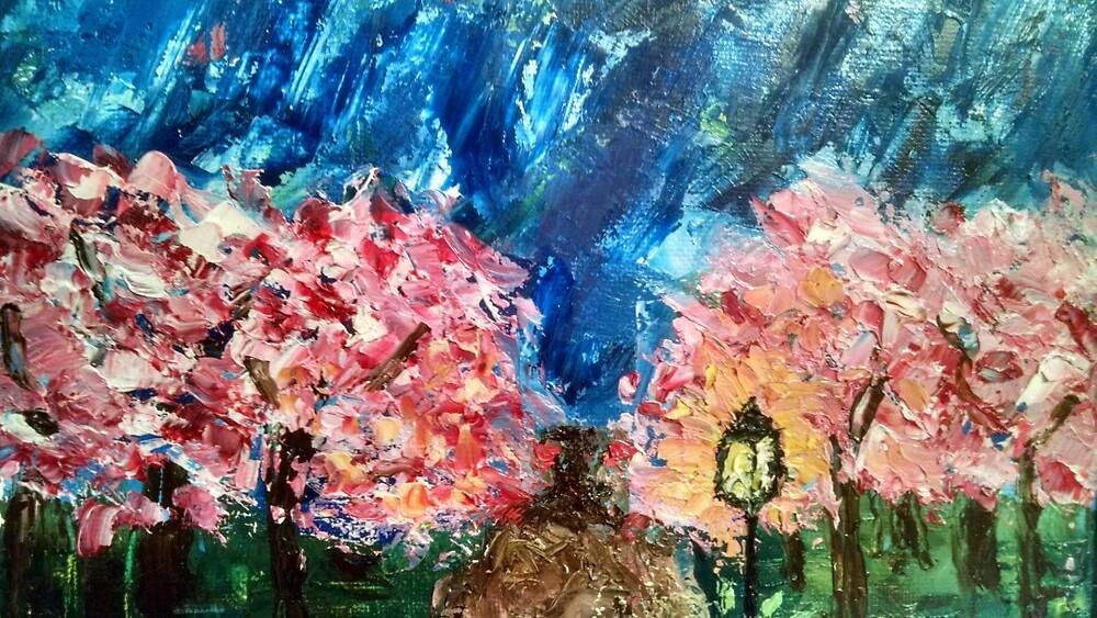 Pink Trees at Dusk by sheyman