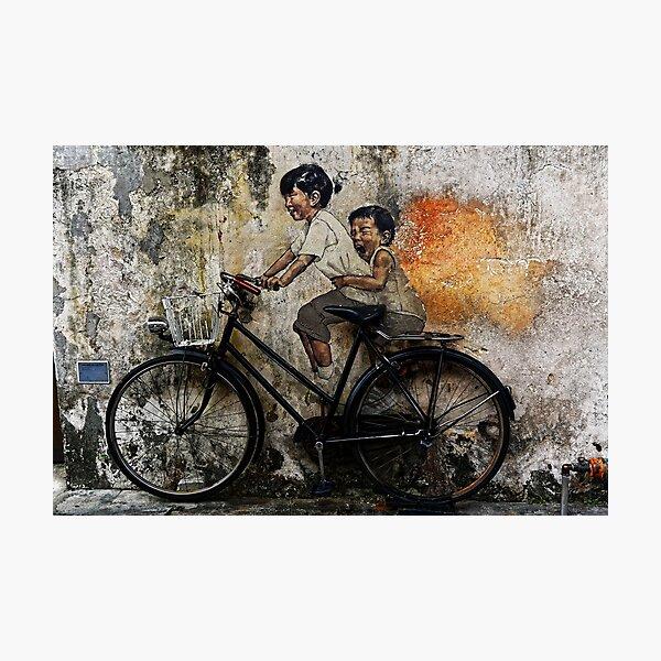 Streetart - kids on a bike Photographic Print