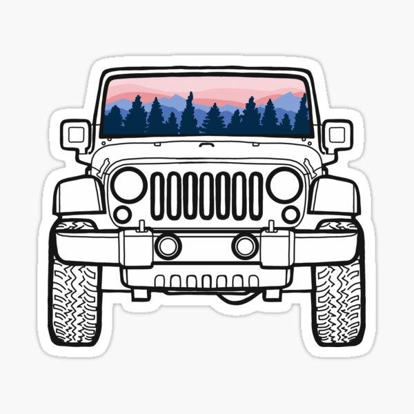 Sunset Pines Jeep Pegatina