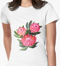 Protea flower watercolor - all over print Women's Fitted T-Shirt
