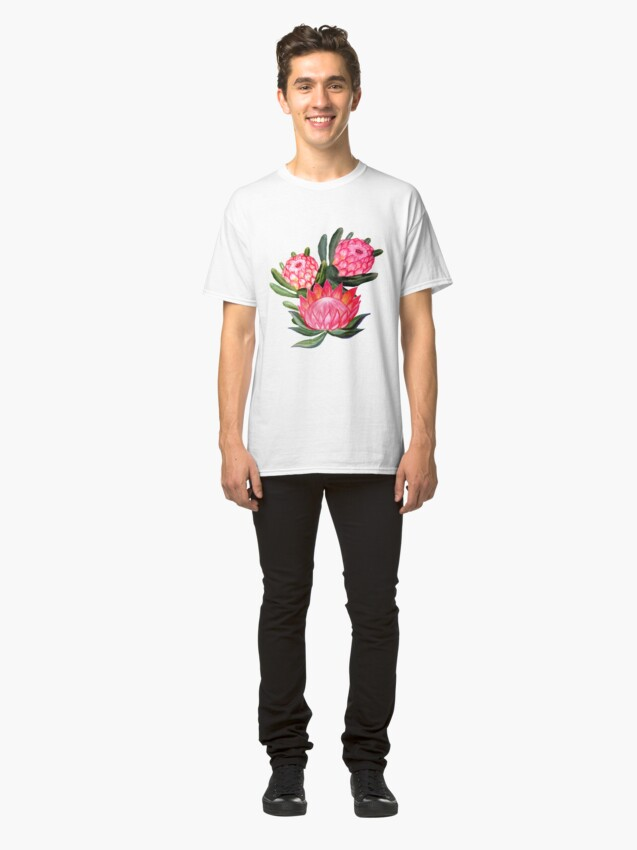Alternate view of Protea flower watercolor - all over print Classic T-Shirt