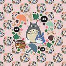 Totoro Kranzmuster in Pink von CanisPicta