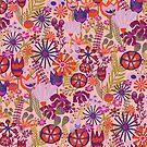 Purple Retro Meadow by Sandra Hutter