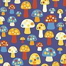 Cute Kids Mushrooms by Sandra Hutter