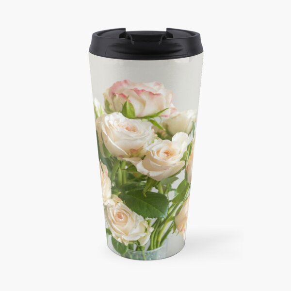 Pale pink roses with green leaves Travel Mug