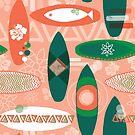 Orange Vintage Surfboards by Sandra Hutter