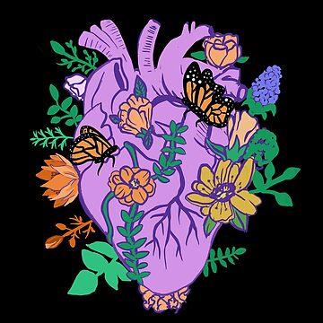 Blumenherz-Pastell Goth anatomisches Herz von lunaelizabeth