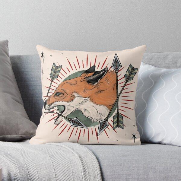 Fox with Arrows Throw Pillow