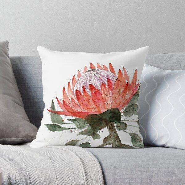 Watercolour Protea Throw Pillow