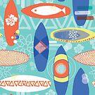 Blue Retro Surfboards by Sandra Hutter