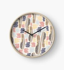 Hand drawn abstract shapes. Spotted and textured figures. Unique design Clock