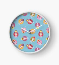 Floating devices in a pool seamless pattern. Women with sunhats on floaties chilling in the pool. Fun summer design. Summer vacation Clock