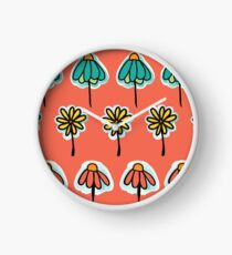 Doodle flowers seamless pattern on a peach orange background Clock