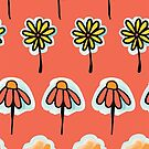 Peach Doodle Flowers by Sandra Hutter