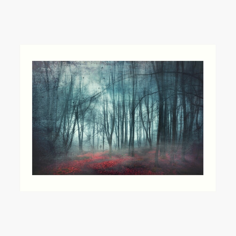 escape route - misty forest scenery Art Print