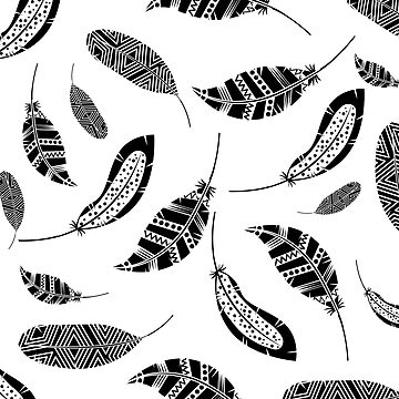 Boho Feathers Black And White by GypseaDesigns