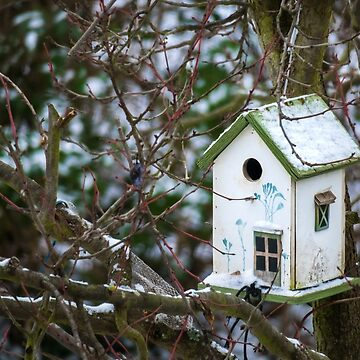 Snowy Forest Birdhouse Haven by GypseaDesigns