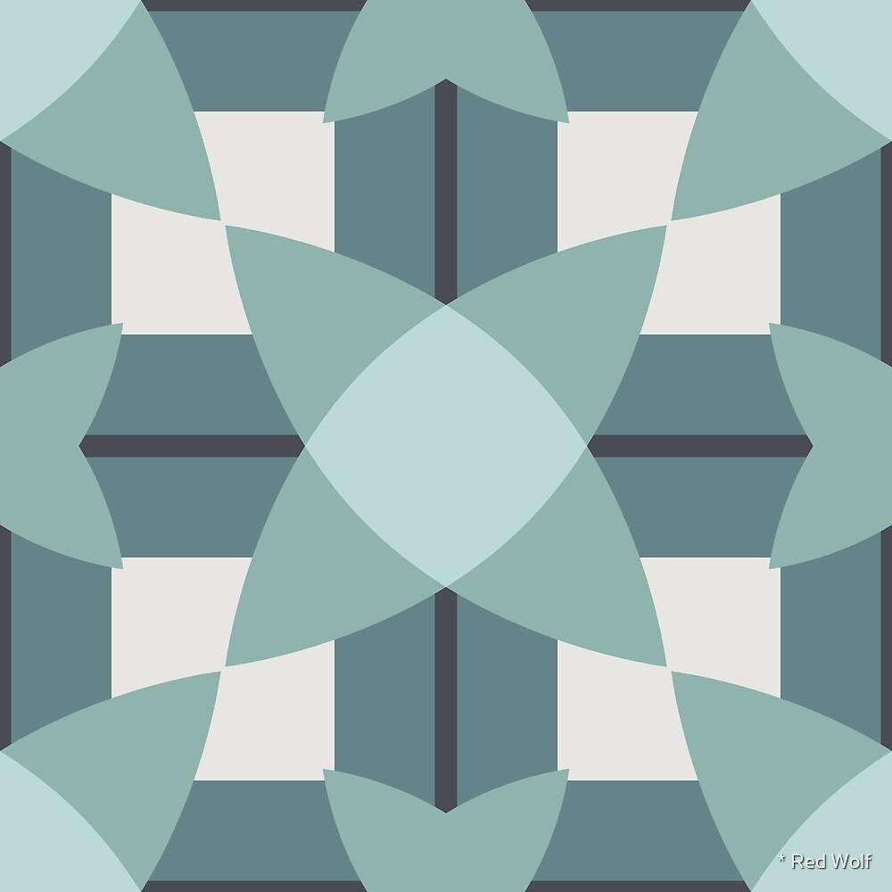 Geometric Pattern: Flower Weave: Seafoam by * Red Wolf