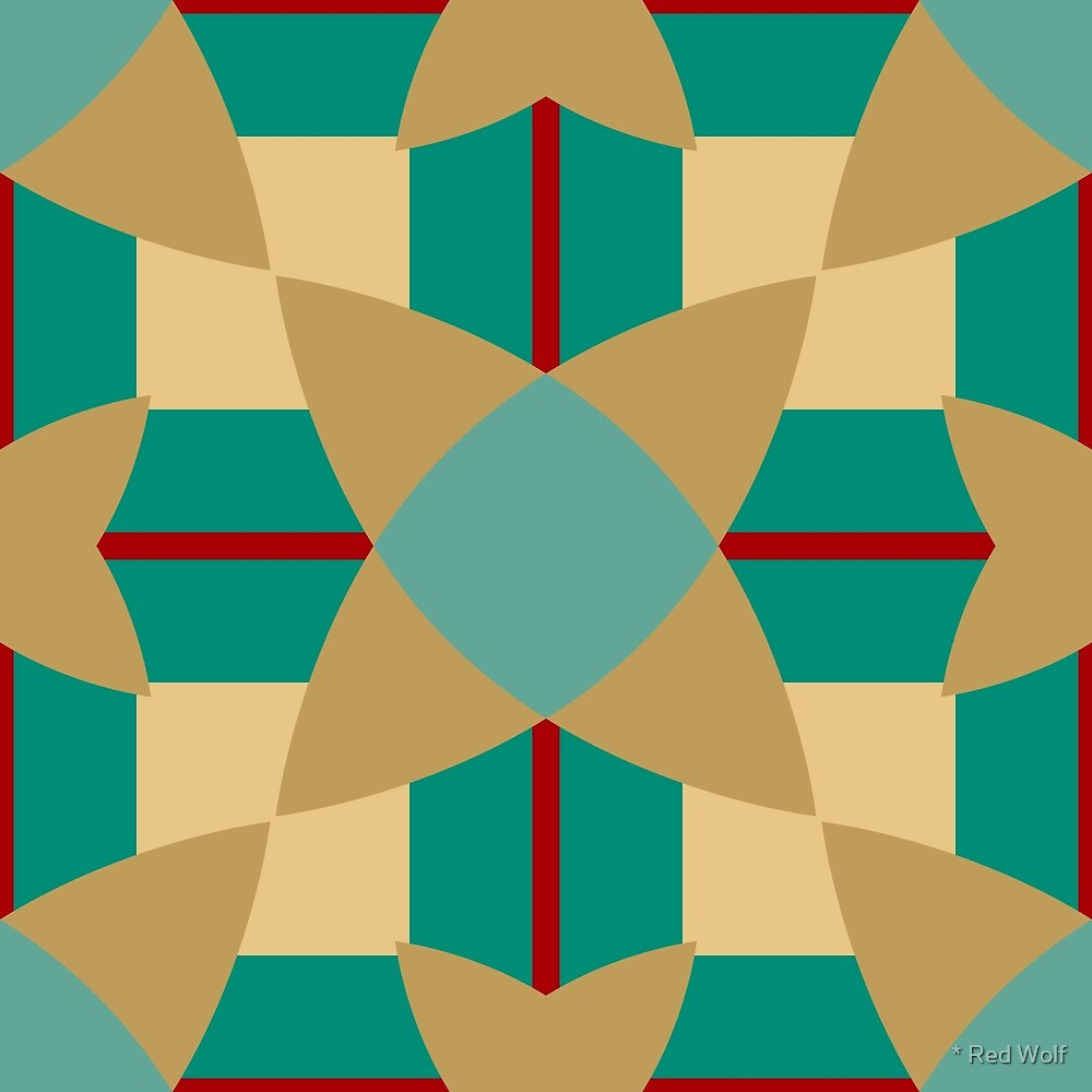 Geometric Pattern: Flower Weave: Turquoise by * Red Wolf
