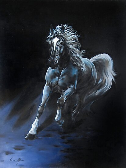 """White Stallion"" Oil on Canvas by Sara Moon"