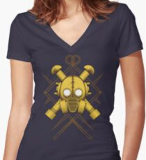 Tribal Gold Gasmask Women's Fitted V-Neck T-Shirt
