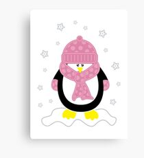 Baby It's Cold Outside [Girl Penguin] Canvas Print