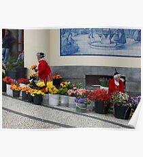 Blumenverkäufer in Funchal Madeira Poster