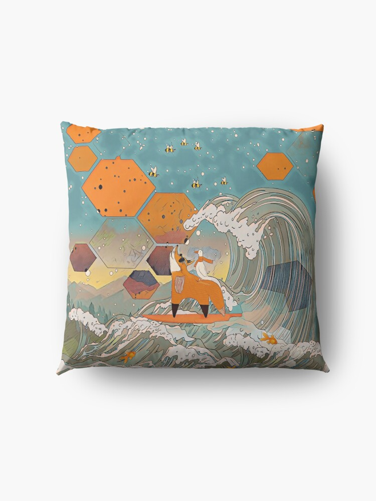 Alternate view of The fox and the duck Floor Pillow