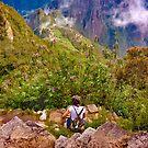 Woman Resting at Highs of Machu Picchu Mountain by DFLC Prints