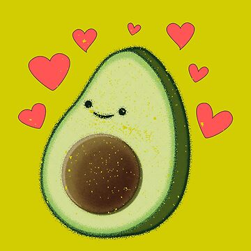 Distressed Avocado With Red Hearts by Almdrs