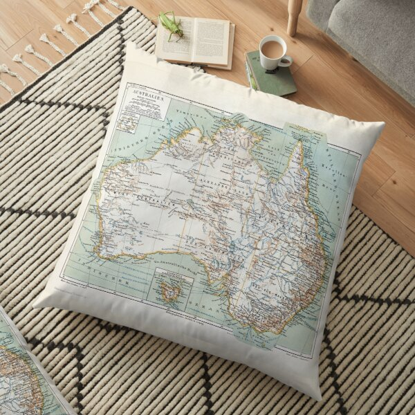 Antique Map of Australia Swiss/German circa 1890 Floor Pillow